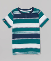 Micros Teal & White Stripe Henley Tee - Toddler