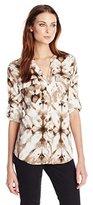Calvin Klein Women's Print Roll-Sleeve Top