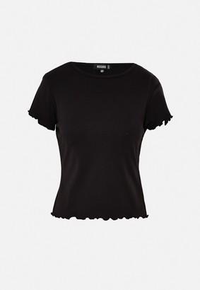 Missguided Black Lettuce Hem Short Sleeve T Shirt