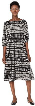 American Rose Jodie Off-the-Shoulder Dress with Tassel Belt (Black/Taupe) Women's Clothing