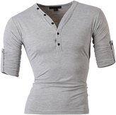Jeansian Men's Slim Fit Short Sleeves Casual Henleys Shirts D304