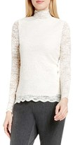 Vince Camuto Scallop Lace Mock Neck Top