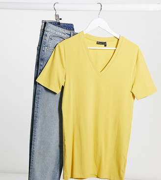 ASOS DESIGN Tall organic muscle fit t-shirt with v neck in yellow