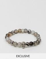 Reclaimed Vintage Beaded Bracelet With Skull