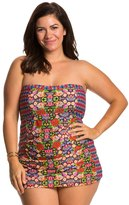Jessica Simpson Plus Size Folkloric Front Shirred Bandeau Swimdress 8124034
