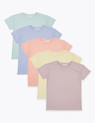 Marks and Spencer 5 Pack Pure Cotton T-Shirts (6-16 Yrs)