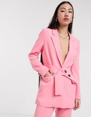 InWear Katrice belted blazer co-ord in pink