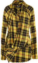 Junya Watanabe Asymmetric Pleated Tartan Twill Mini Dress - Yellow