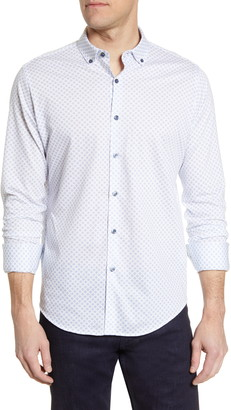 Bugatchi Print Knit Button-Down Shirt