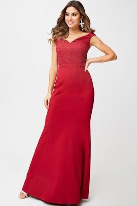 Little Mistress Aisha Scarlet Lace Off-The-Shoulder Maxi Dress