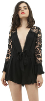 West Coast Wardrobe Bardot Babe Crochet Back Romper in Black