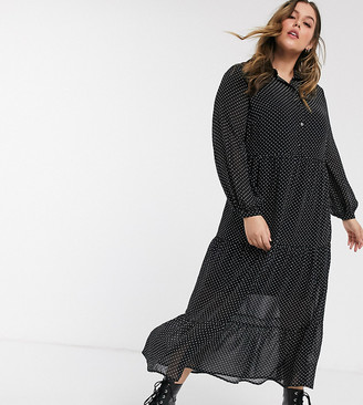 New Look Plus New Look Curve tiered shirt dress in black polka dot