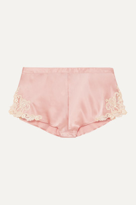 La Perla Maison Embroidered Lace-trimmed Silk-blend Satin Shorts - Pink
