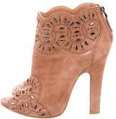 Alaia Embellished Peep-Toe Booties