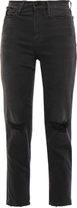 Frame Cropped Distressed High-rise Slim-leg Jeans