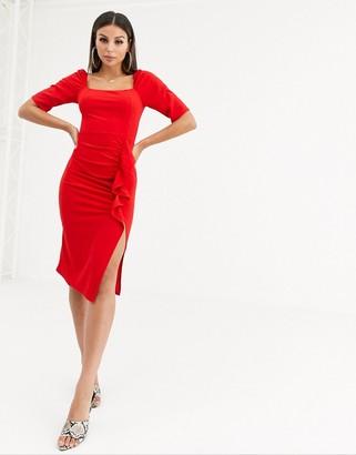 TFNC puff sleeve ruffle detail midi dress