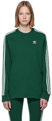 adidas Green 3-Stripe Long Sleeve T-Shirt