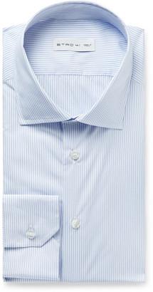 Etro Light-Blue Slim-Fit Cutaway-Collar Striped Cotton-Poplin Shirt