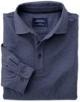 Charles Tyrwhitt Slim Fit Indigo Pique Long Sleeve Cotton Polo Size Medium
