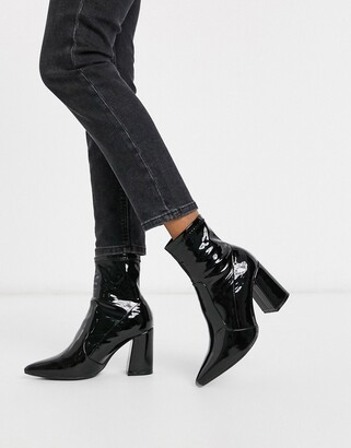 New Look patent PU heeled pointed sock boots in black