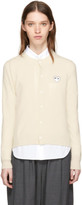 Comme des Garcons Ivory and White Heart Patch Cardigan