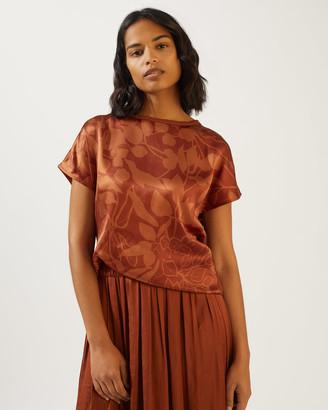 Jigsaw Woodland Floral Short Sleeve Silk Front Shirt