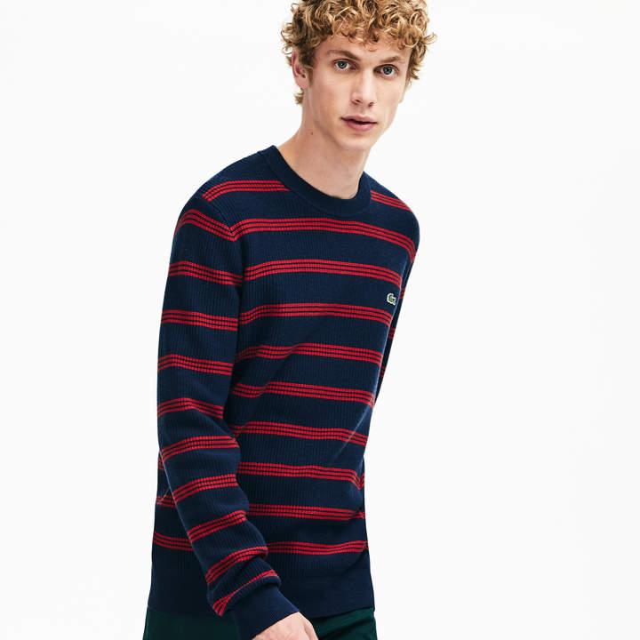 6f1fce1e36 Men's Crewneck Pinstriped Wool and Cotton Sweater