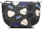 Hearts Oilskin Medium Zip-Top Cosmetic Case
