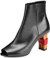 Balenciaga Wooden-Heel Open-Toe Bootie, Noir