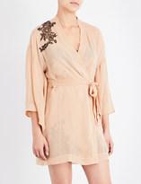 Marjolaine Lace-trim silk-chiffon robe