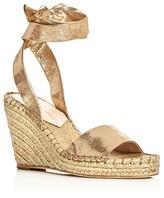Loeffler Randall Harper Metallic Ankle Tie Espadrille Wedge Sandals