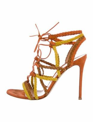 Gianvito Rossi Suede Colorblock Pattern Sandals Orange