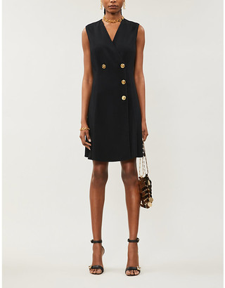 Versace Double-breasted crepe mini dress