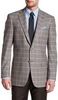Hart Schaffner Marx Grey Plaid Two Button Notch Lapel Wool Blend Sport Coat