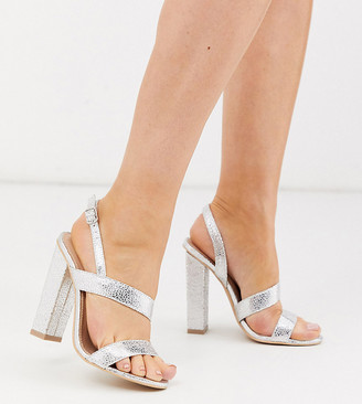 Glamorous Wide Fit silver asymmetric block heeled sandals