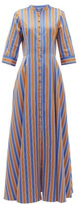 Evi Grintela El Bahia Striped Cotton-poplin Maxi Shirt Dress - Womens - Orange Multi