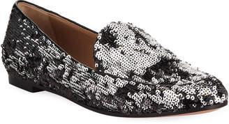 Aquazzura Purist Sequined Flat Loafers