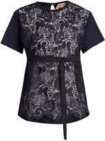 No.21 NO. 21 Lace-panelled cotton T-shirt