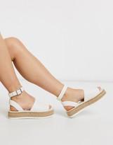 Asos Design DESIGN Jupiter flatform espadrille sandals in white