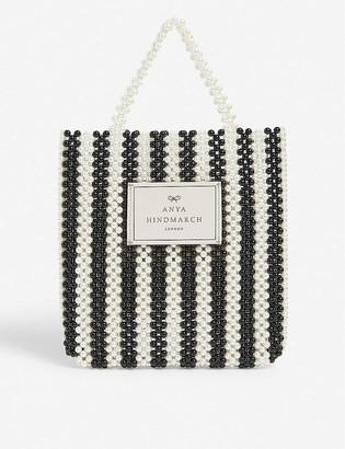 Anya Hindmarch Branded stripe-print beaded tote