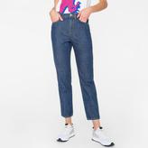 Paul Smith Women's Indigo Denim 'Girlfriend' Jeans With Pocket Appliqué