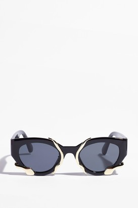 Nasty Gal Womens Metal or Nothing Cat-Eye Tinted Sunglasses - Black - One Size