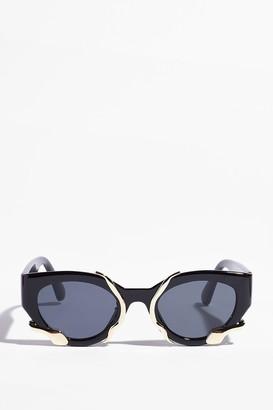 Nasty Gal Womens Metal or Nothing Cat-Eye Tinted Sunglasses - Black