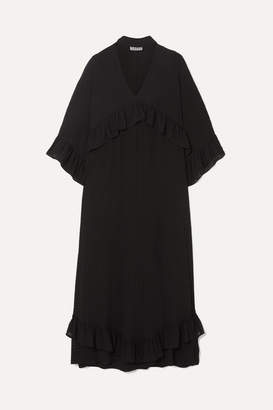 Ganni Ruffled Seersucker Midi Dress - Black