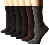 Nine West Women's Cable/Ribbed Basic Crew Socks 6-Pack