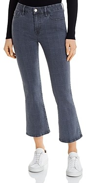 Frame Le Crop Mini Boot Jeans in Washed Gray Plaid