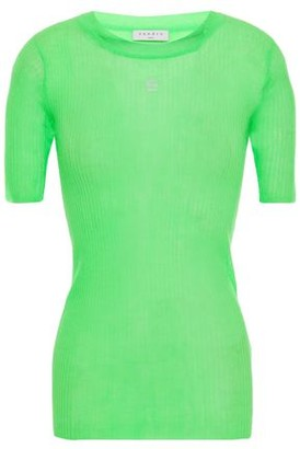 Sandro Embroidered Neon Ribbed-knit Top