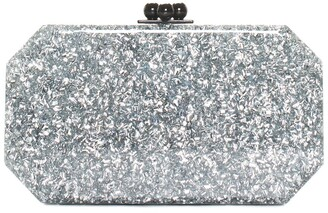 Edie Parker Silver Resin Fiona Faceted Octagon Box Clutch