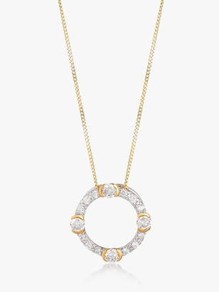 V by Laura Vann Luna Cubic Zirconia Circle Pendant Necklace, Gold/Silver
