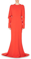 Stella McCartney Draped-Sleeve Cady Gown, Red